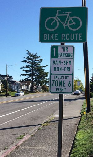 Zone signs on Colby west of the EvCC campus tells you where and how long to park.
