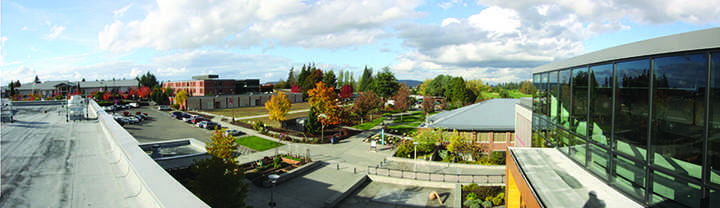 Shuksan and the new grass field, site of the former Index building, seen from the rooftop of Whitehorse Hall.