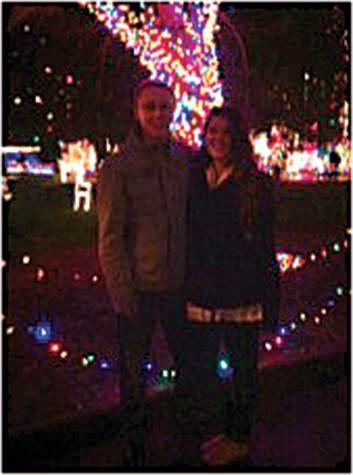 Matt Novotny and girlfriend Anna Benedetti enjoying the lights during Matt's first Christmas in the U.S.