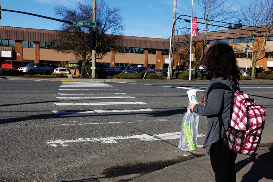 An EvCC student travels back to campus after going on a journey to find food near campus.