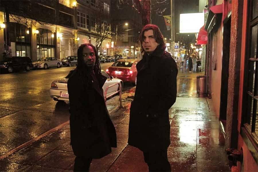 "The duo rap/rock group ""What Have May,"" Azrael Howell (left) and Sean Mucke (right)."