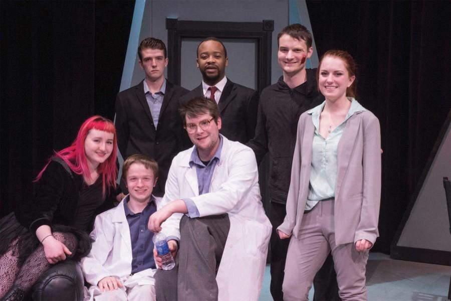 The cast of Evil Twin, former and current EvCC theater students post-performance.
