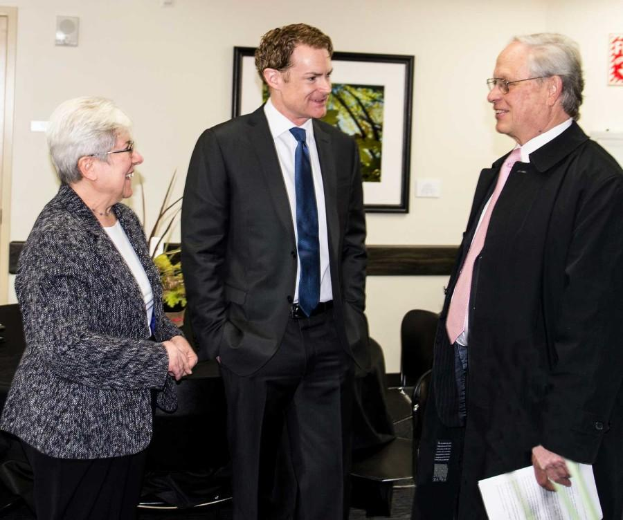 Jim Hanna (center) speaks with EvCC President David Beyer (right) and Diane Kamionka before Hanna's presentation, Business Driver's for Sustainability, on March 3. Hanna is Starbucks Director of Environmental Affairs, and helping kick off NW Innovation Resource Center's second annual NW Washington Sustainability Challenge.  //courtesy of Katherine Shiffner
