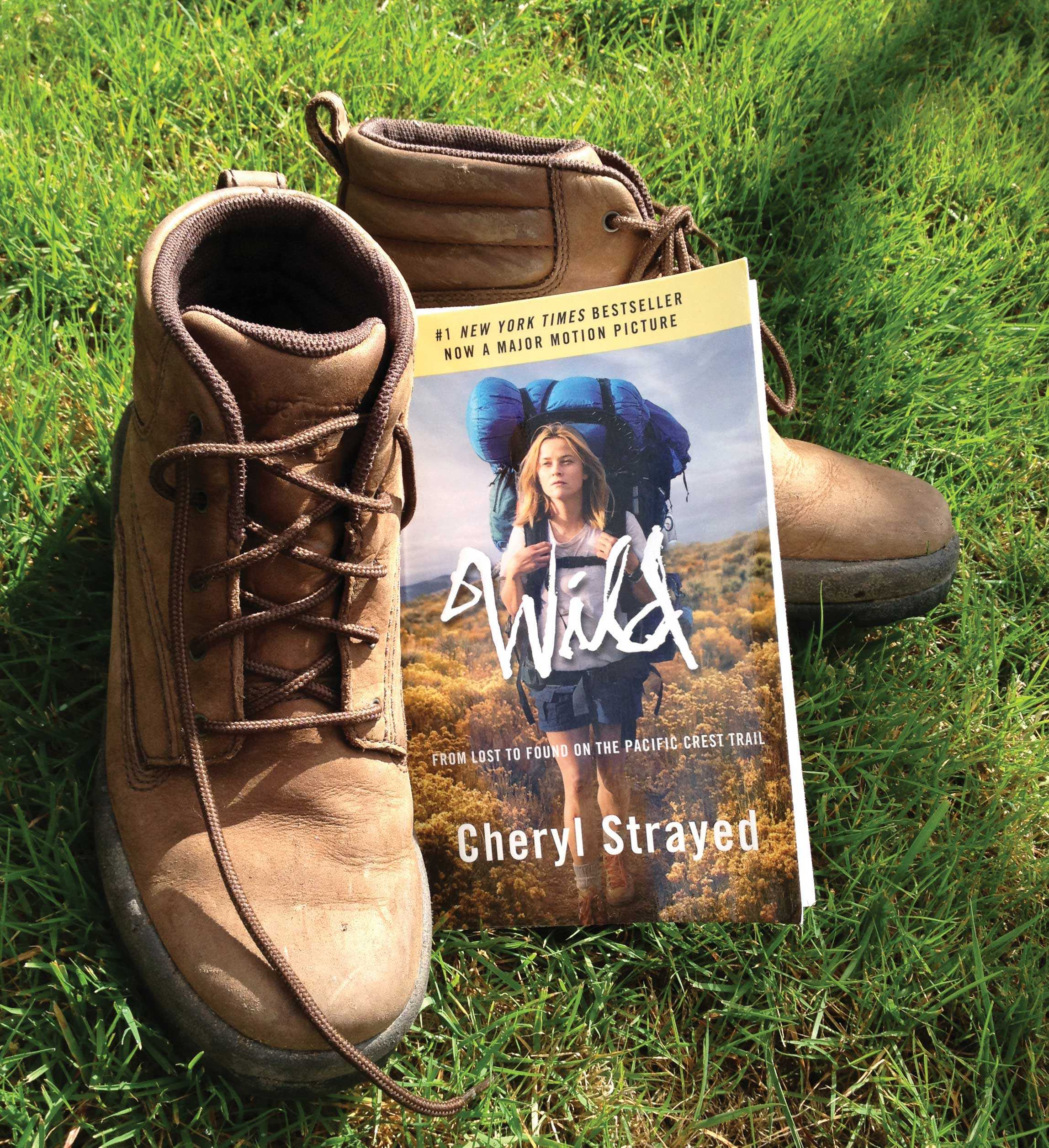 The cover of Wild by Cheryl Strayed. This cover features Reese Witherspoon, the actress Strayed wanted to portray her when her first person book moved to the cinema.