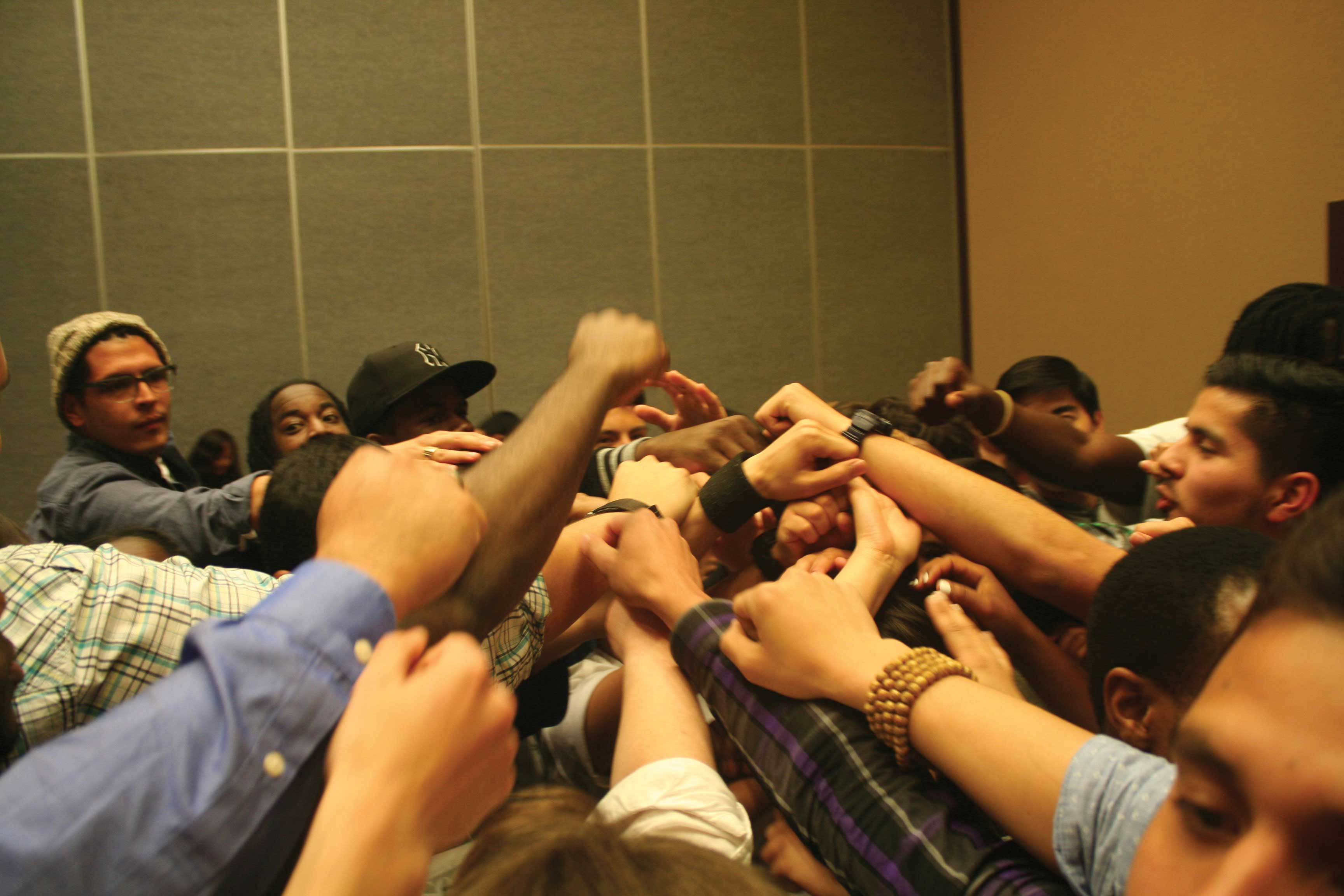 After our last check-in session with the school group. Pumping each other up for the last moments at Students Of Color Conference.