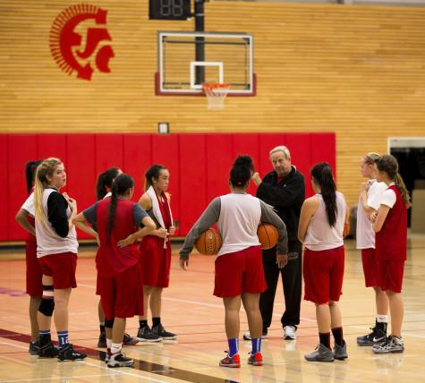 Coach Chet Hovde instructing his team during practice on Oct 26 2015 at the Walt Price Student Fitness Center, getting them ready for the long season ahead.