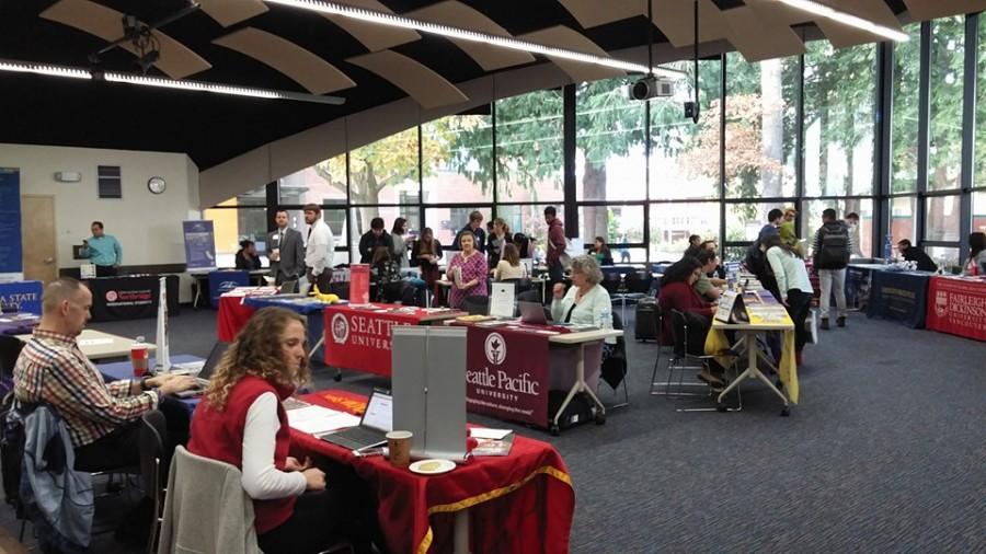 University booths in Jackson Center await students.