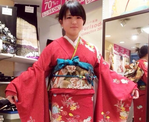 Student Reika Yamazak wearing her traditional kimono for the ceremony.