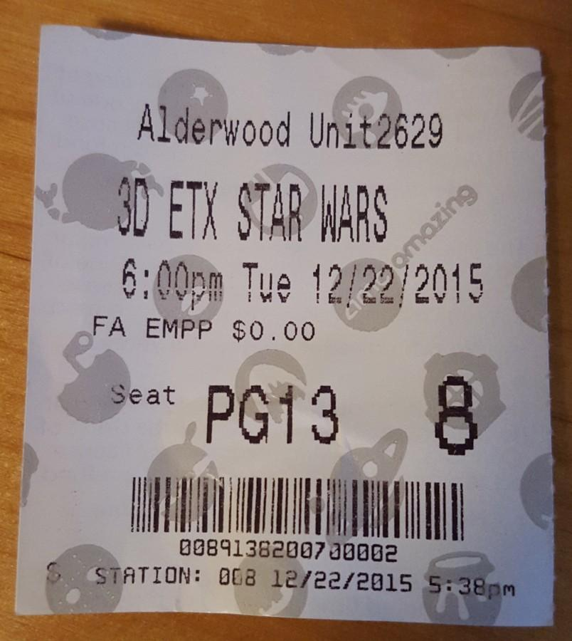 A+ticket+to+the+6%3A00+p.m.+showing+of+%22Star+Wars%3A+The+Force+Awakens%22+at+the+Alderwood+movie+theater.