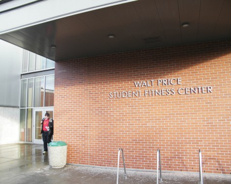 A student leaves the Walt Price Student Fitness Center.