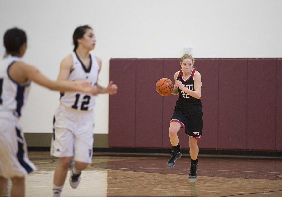 Lily Hilderbrand pushing the ball up court with laser focus, looking for open teammates while playing Whatcom Community College on Saturday, January 9th.