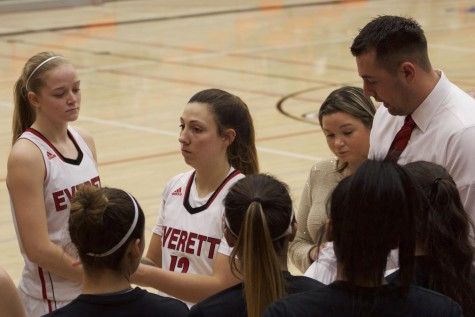 In the huddle just before game time, the EvCC Women's basketball team gets ready for their big matchup against Edmonds Community College Wednesday night at the Walt Price Student Fitness Center on January 13, 2016.