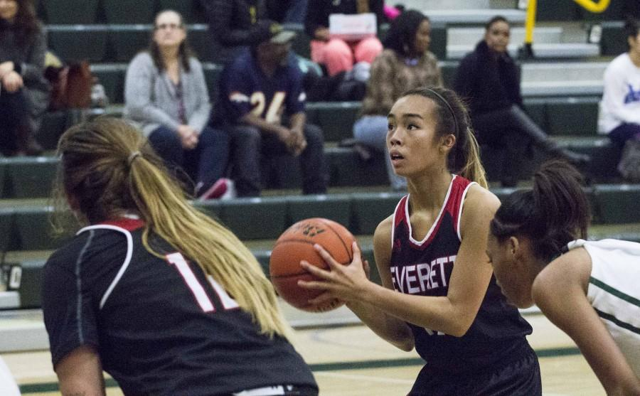 Chellyn Perea from EvCC focusing hard just before a free throw attempt in Shoreline, Washington on Jan. 27, 2016.