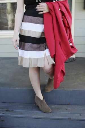 Thrifted heeled booties, high waisted skirt, basic tee, and vintage dress turned into a coat make a great and wallet friendly winter outfit.