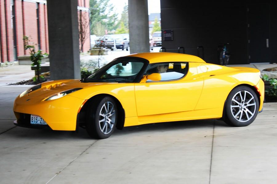 2010 Tesla Roadster parking under Grey Wolf's covered area – Owned by Chad Schwitters.