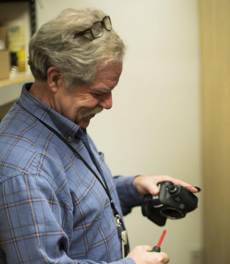 Fred Gilbert loves photography and working in the photo studio. If a student ever needs help with their camera, he is always willing and excited.