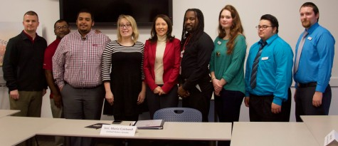 Sen. Maria Cantwell (center) stands with EvCC and WSU North Puget Sound students after their roundtable discussion at EvCC.