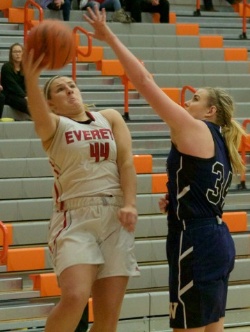 Lauren Allison for the Trojans making a nice move to get off a difficult shot against a Lindsey Honeycutt led Orcas team on Saturday night.