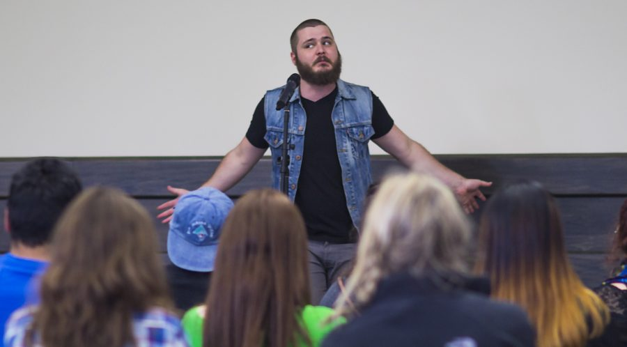 """Hilborn hasn't always been so comfortable with performing. """"I threw up a little in my mouth the first time I performed at a slam poetry event,"""" he recalled. """"I have no idea what possessed me to do it the first time."""""""