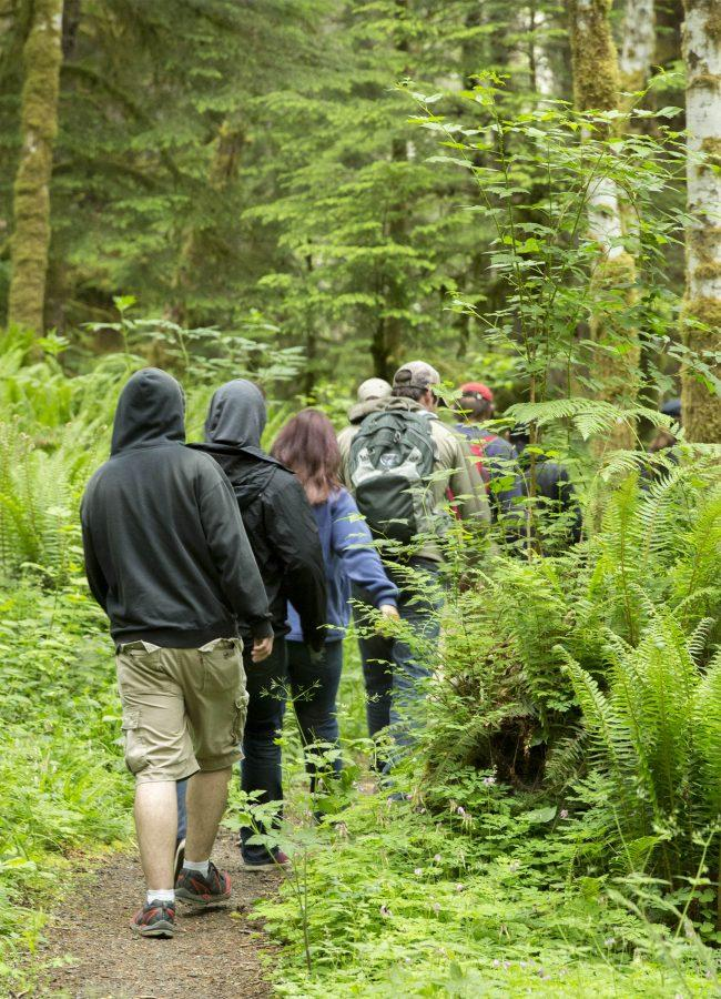 EvCC students trudge along at a good pace through the soggy underbrush in Gifford Pinchot National Forest.