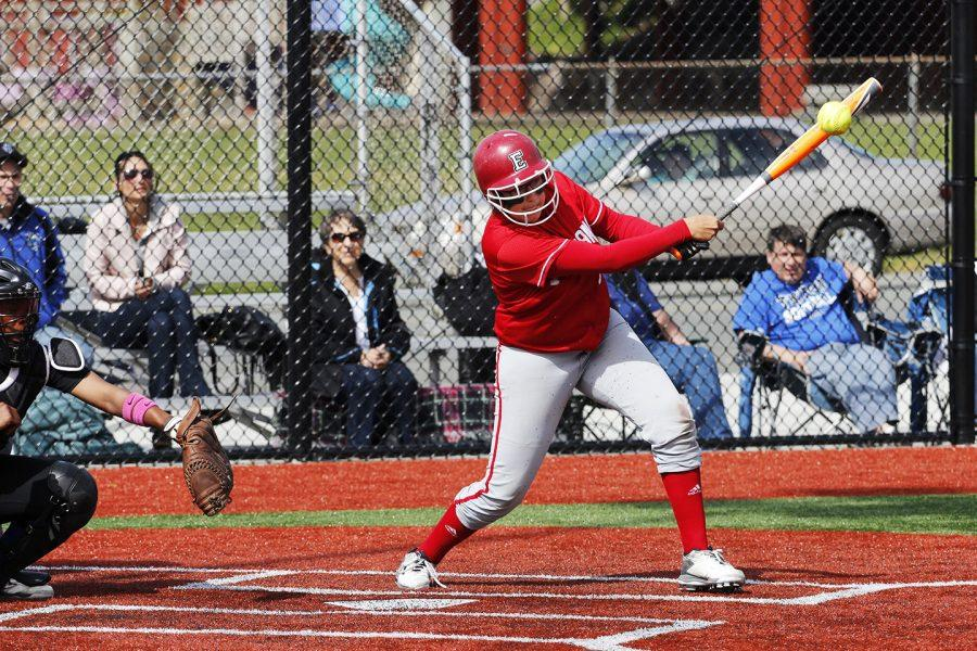 Anya Predojevic hitting the ball into the infield against Edmonds Community College on April 26th 2016.