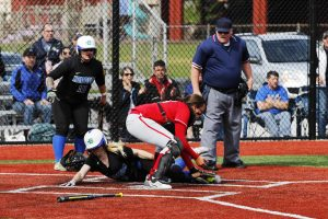 Anya Predojevic tagging out a runner from Edmonds Community College on April 26th 2016.