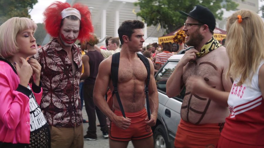 """Seth Rogen and company is forced to """"blend in"""" with the college rally to infiltrate the sorority."""