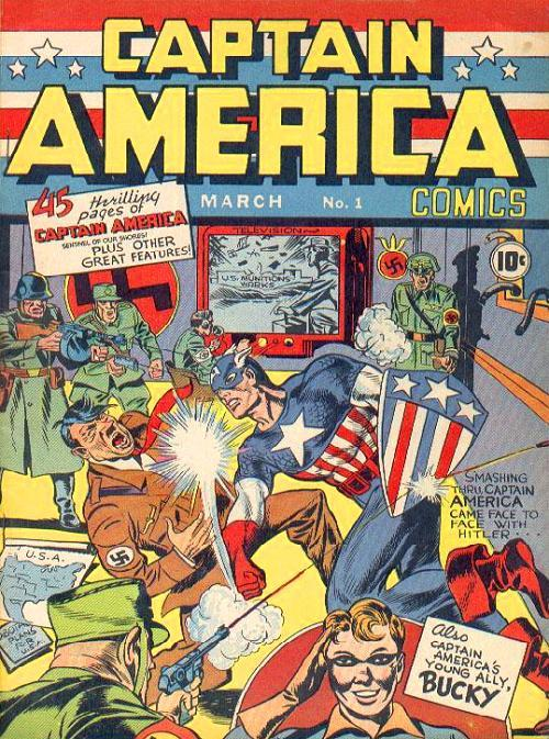 The cover of a Captain America comic from the 1940's.