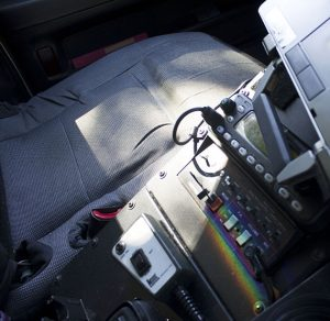 Interior of a patrol car used by Everett PD officers.