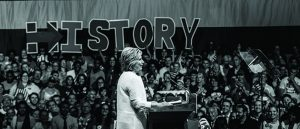 Hillary Clinton soaks up her crowds support on stage at her rally.