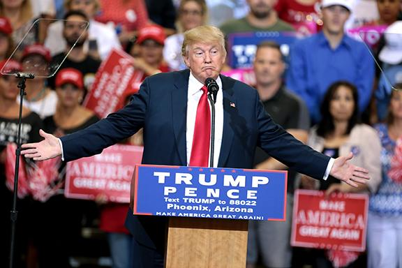 Donald Trump, our nation's newly elected president, is shown here speaking to a crowd at his rally in Phoenix, Arizona.
