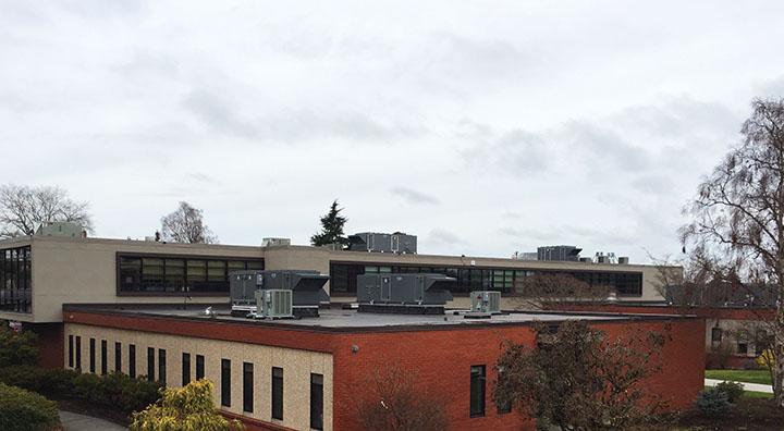 The Rainier sky bridge and new vac system in Olympus Hall.