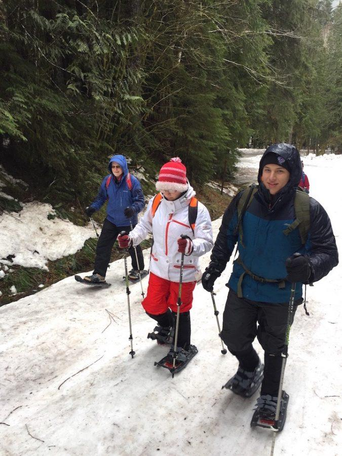 Decked out in snow gear, complete with snowshoes, the team began to make the descent up the Deer Creek trail.