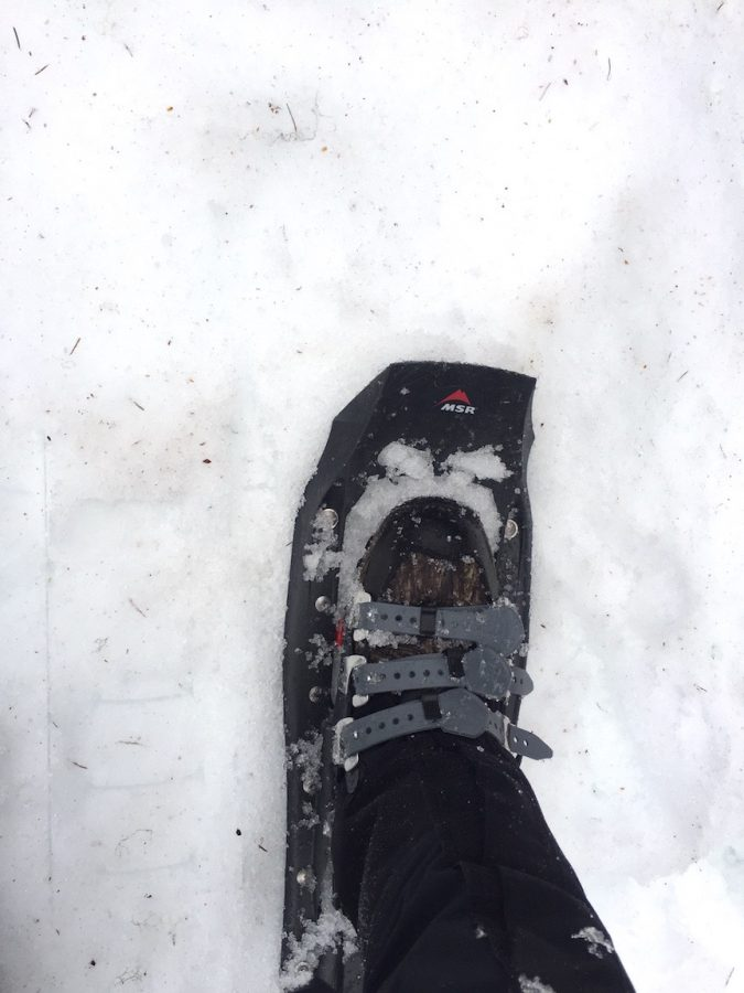 Without snowshoes, the first half-mile would've been a real pain in the butt; the snow was a foot deep in some places. Even with the snowshoes it was still exhausting work, luckily the team was allowed breaks in-between hiking up the mountain.