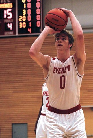 Garrett Fitt shoots a free throw during the first half of Everett's game against Edmonds.