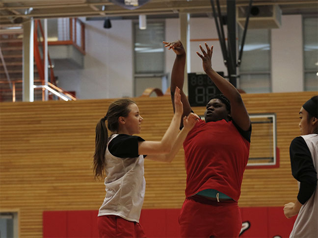 Uju Chibuogwu pulls up for a jumper during practice. Chibuogwu, a freshman, is Everett's leading scorer.