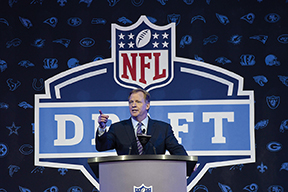NFL Commissioner Roger Goodell stands at the podium prior to announcing the first pick in the 2016 NFL draft.