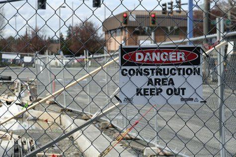 Major construction area zoned off as WSU Everett undergoes building.