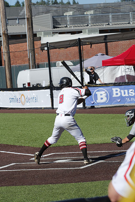 Jacob Prater prepares to swing at an incoming pitch.