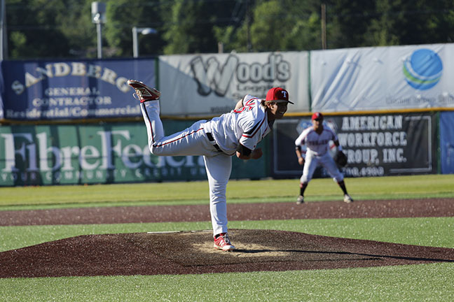 Ryan Sandifer delivers a pitch from the mound.