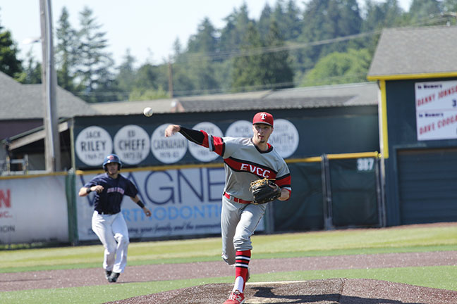 Dalton Chapman delivers a pitch from the mound against Lower Columbia.