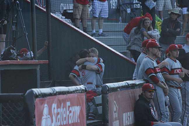 Jaden Yackley and Jacob Prater share an embrace after their season comes to a close.