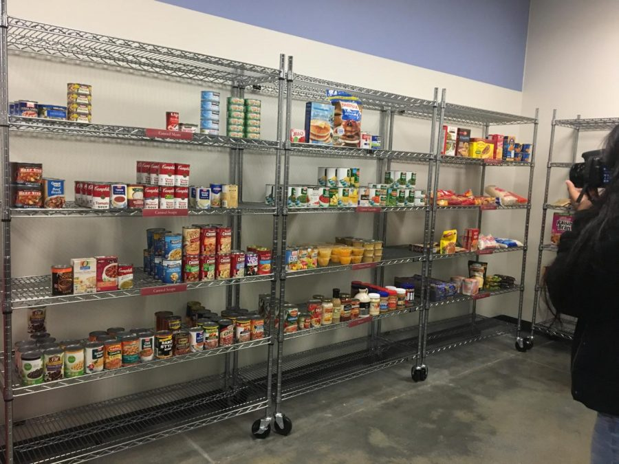 The shelves inside the food pantry.