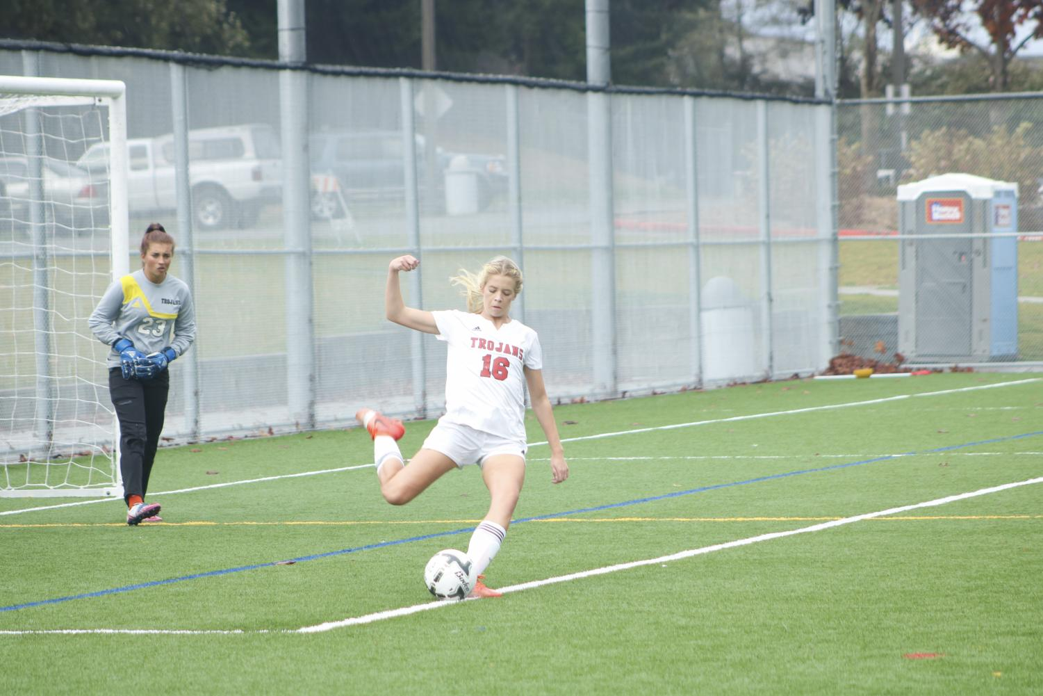 Lindsey Weikel boots the ball down field during Everett's game against Peninsula.