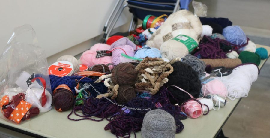 A pile of yarn and string donations for the hitahiro art project.