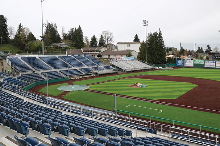 Pictured+is+the+newly+installed+turf+infield+at+Everett+Memorial+Stadium.+Just+over+the+third+base+side+stands+is+the+football+field+where+the+Trojans+practiced+during+renovations.+