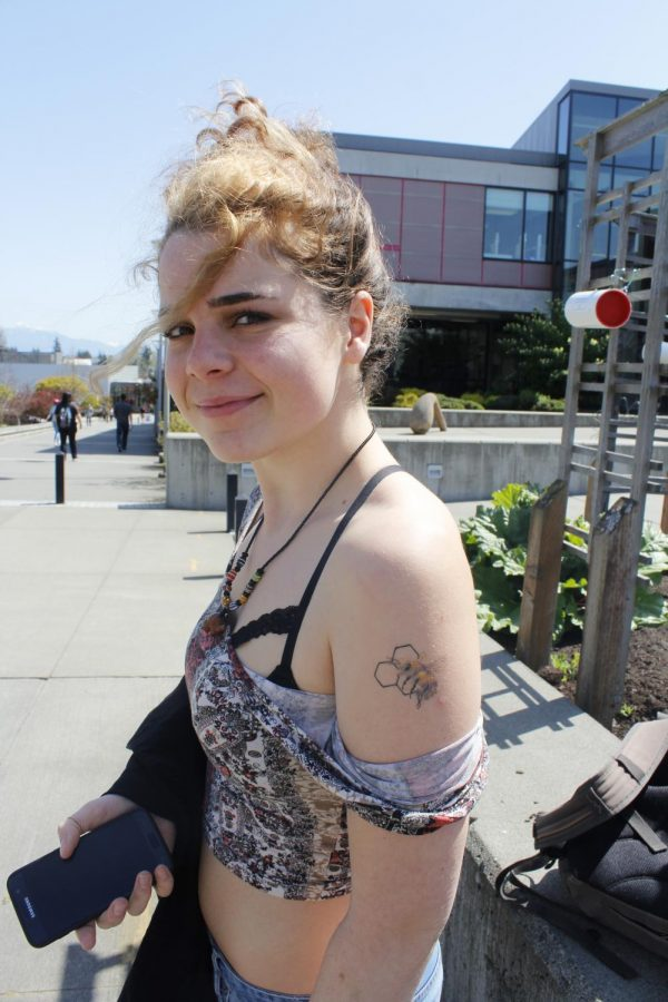 Lora Burke, an EvCC student, is a bit of a bee-enthusiast and has the tattoo to prove it.
