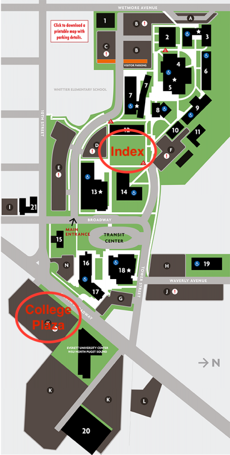 The two projected locations for the Learning Resource Center on the campus map.
