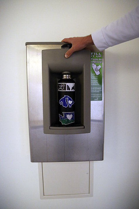 Water bottle filling stations were installed as a result of sustainability projects. The proposed green fee could contribute to more stations around campus. EvCC currently has 4 filling stations: one in Olympic Hall, one in the Parks building, one in Liberty Hall and one in the Fitness Center.