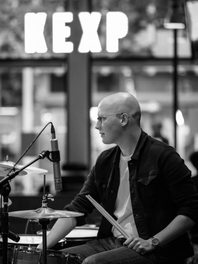 Patrick+Brockwell%2C+drummer+for+Among+Authors+at+KEXP+Tiny+Desk+showcase